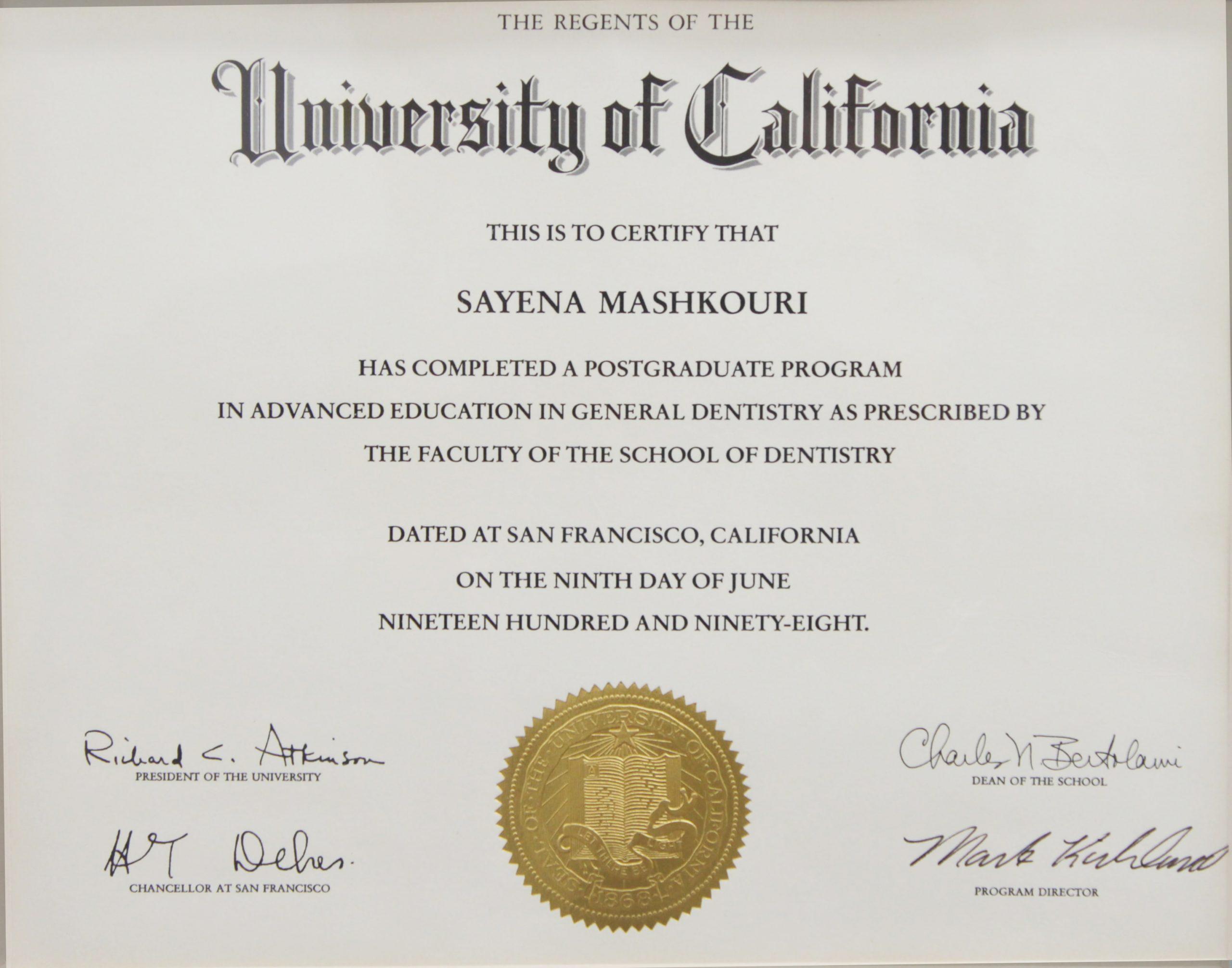Sayena Mashkouri Diploma
